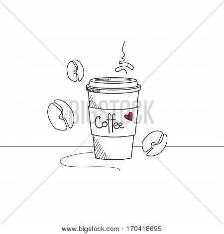 Hand drawn coffee cup to go isolated with coffee beans on white background