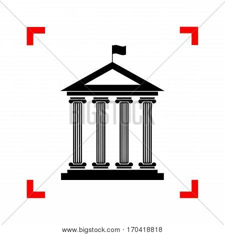 Historical building with flag. Black icon in focus corners on white background. Isolated.