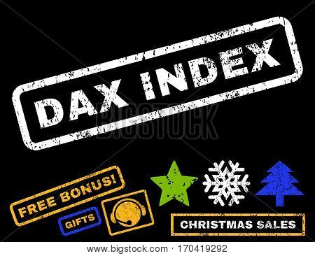 Dax Index text rubber seal stamp watermark with bonus christmas symbols. Tag inside rectangular banner with grunge design and dust texture.