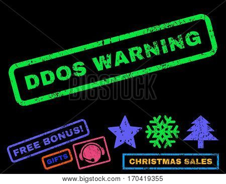 Ddos Warning text rubber seal stamp watermark with additional bonus christmas symbols. Caption inside rectangular shape with grunge design and dust texture.