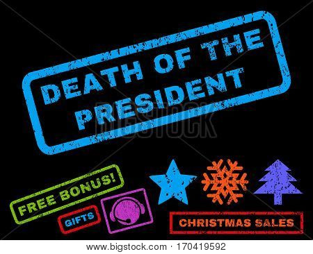 Death Of The President text rubber seal stamp watermark with additional bonus christmas symbols. Caption inside rectangular shape with grunge design and dust texture.
