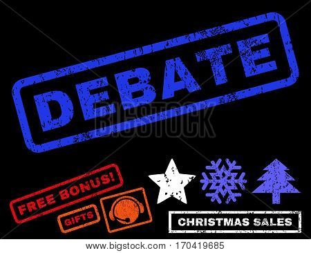 Debate text rubber seal stamp watermark with additional bonus christmas symbols. Tag inside rectangular shape with grunge design and scratched texture.