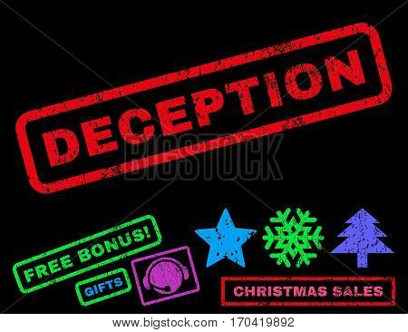 Deception text rubber seal stamp watermark with additional bonus christmas symbols. Tag inside rectangular shape with grunge design and dust texture.
