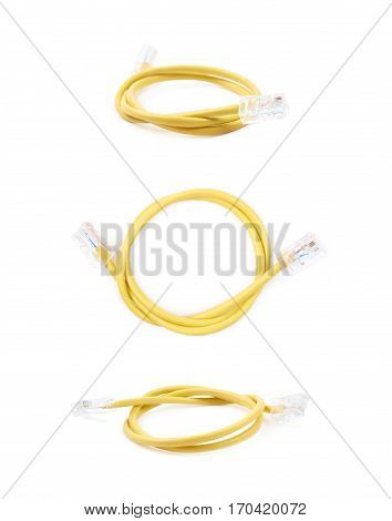 Folded yellow ethernet cable isolated over the white background, set of three different foreshortenings