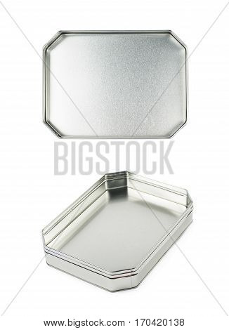 Octagonal box made of brushed metal sheet, isolated over the white background, set of two different foreshortenings