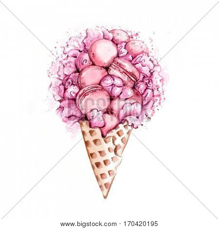 Watercolor illustration of hand painted peonies and macarons in waffle cone