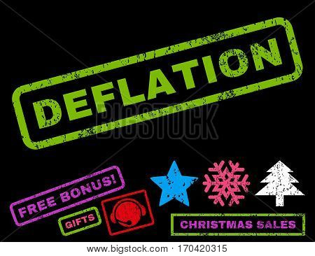Deflation text rubber seal stamp watermark with additional bonus christmas symbols. Caption inside rectangular shape with grunge design and scratched texture.