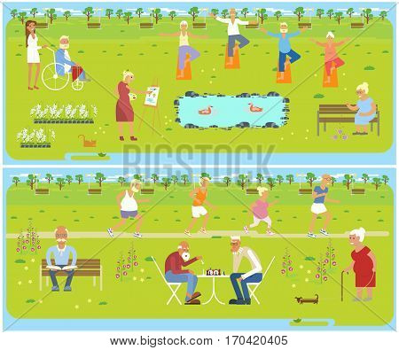 Banner of Retired elderly seniors age couple in flat character design. Grandpa and grandma walking in the park. Grandparents with walking stick and invalid chair outdoor isolated. Vector eps 10