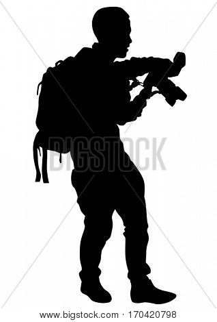 Person with a camera on white background