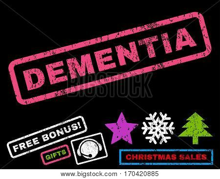Dementia text rubber seal stamp watermark with additional bonus christmas symbols. Caption inside rectangular banner with grunge design and dirty texture.