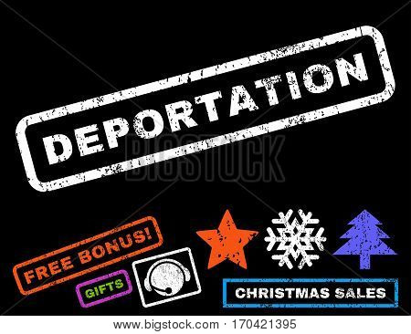 Deportation text rubber seal stamp watermark with additional bonus new year symbols. Caption inside rectangular banner with grunge design and unclean texture.