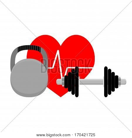 Healthy heart sport and fitness. Cardio workout vector illustration