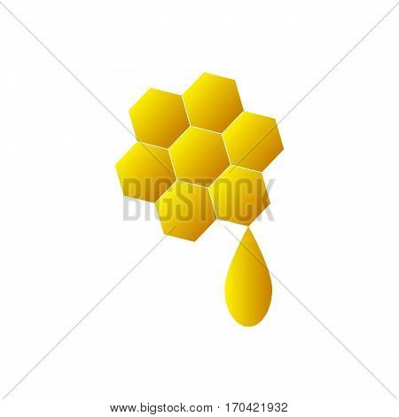 Honeycomb logo for company business. Isolated honeycomb icon on white background. Sweet honey on honeycomb. Flat style vector illustration.