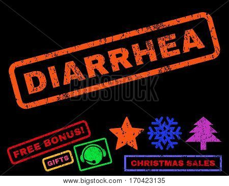 Diarrhea text rubber seal stamp watermark with additional bonus new year symbols. Caption inside rectangular banner with grunge design and unclean texture.