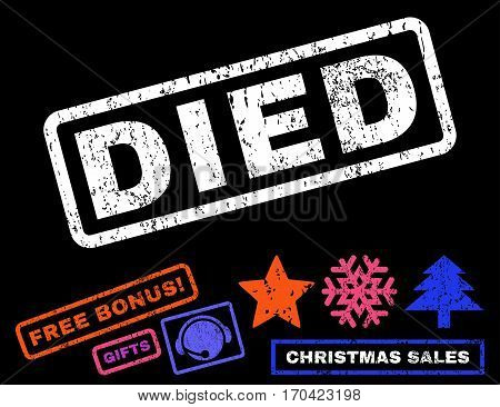 Died text rubber seal stamp watermark with bonus christmas symbols. Tag inside rectangular banner with grunge design and unclean texture.