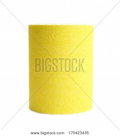Roll of a sandpaper emery paper isolated over the white background