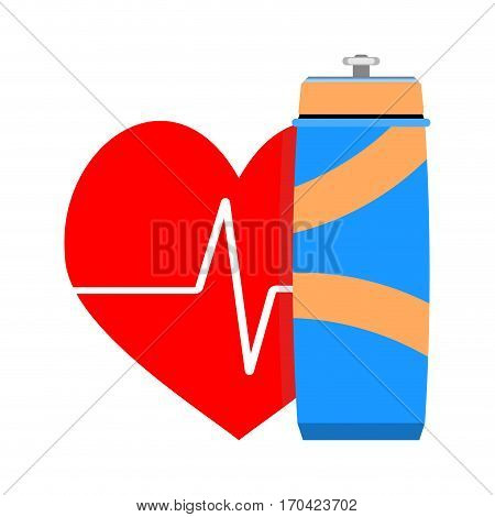 Water and heart. Aerobic sport gym and fitness vector illustration