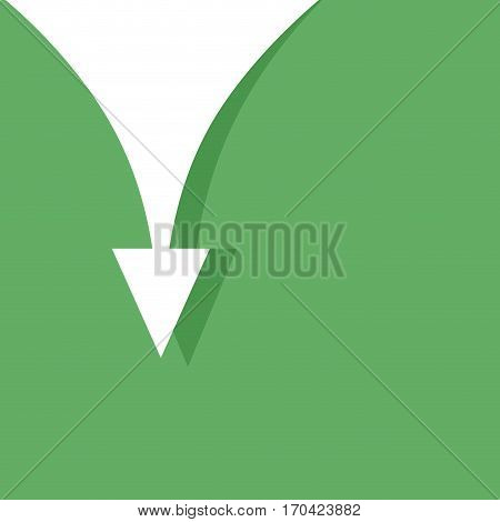 Banner with arrow down vector. Downhill pointer direction illustration