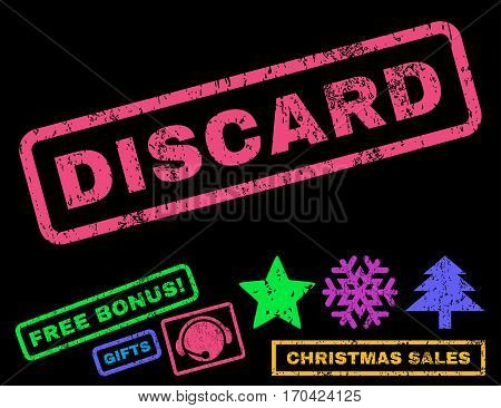Discard text rubber seal stamp watermark with additional bonus christmas symbols. Caption inside rectangular shape with grunge design and scratched texture.