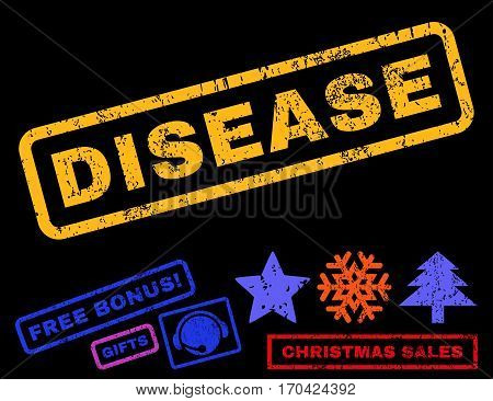Disease text rubber seal stamp watermark with bonus christmas symbols. Tag inside rectangular shape with grunge design and scratched texture.