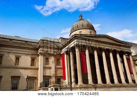 London National Gallery in Trafalgar Square  UK England
