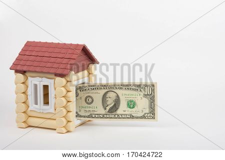 From Toy House Door Sticks Out Of Ten Us Dollars Banknote