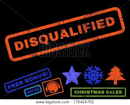 Disqualified text rubber seal stamp watermark with additional bonus christmas symbols. Tag inside rectangular shape with grunge design and unclean texture.