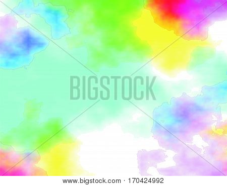 Abstract colorful background, digital watercolor or blurry mixed paint. Different shades of green, blue, yellow and pink shades