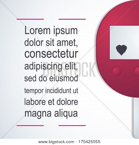 Diabetes Vector illustration Pink glucometer on white background with space for inscription Poster template of diabetes in paper style