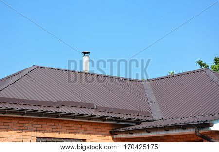 Problem Areas for Rain Gutter Waterproofing. Guttering Gutters Plastic Guttering. Guttering Down pipe Fittings. Rain gutter system and roof protection from snow board (Snow guard) on house roofing.