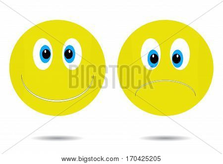 cheerful and sad. Happy smiley icon smile emoticon character face cartoon sadness illustration