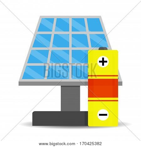 Accumulation solar energy. Efficient from sunny collector sun panel vector illustration