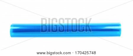 Roll tube of transparent blue plastic film coating isolated over the white background