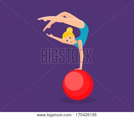 Circus concept. Young gymnast girl in sportswear, entertains and amuses audience, showing strength exercises on large ball, gymnastics and acrobatics. Vector illustration isolated on dark background.