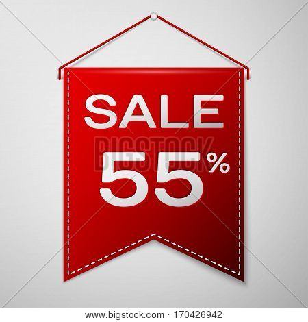Red pennant with inscription sale fifty five percent Discounts over a grey background. Sale concept for shops store market, web and other commerce. Vector illustration.
