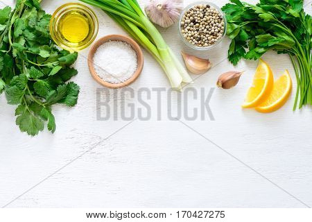 Chimichurri sauce basic ingredients view from above flat lay blank space for a text