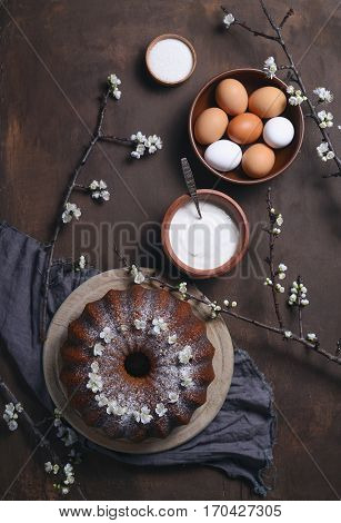 Easter bundt cake recipe concept view from above