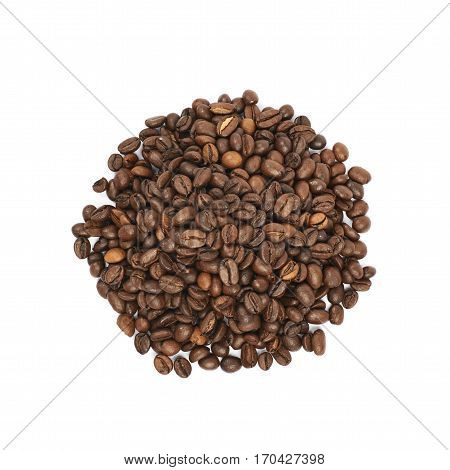Pile of brown roasted coffee beans isolated over the white background