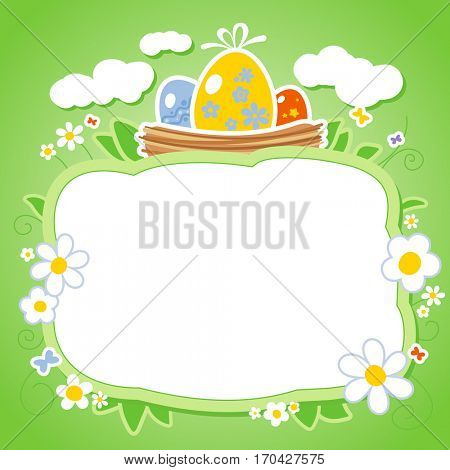 Easter card template with frame for photo or text, rasterized version