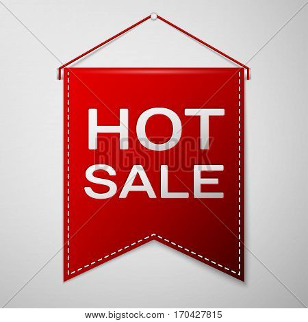 Red pennant with inscription HOT SALE over a grey background. Sale concept for shops store market, web and other commerce. Vector illustration.