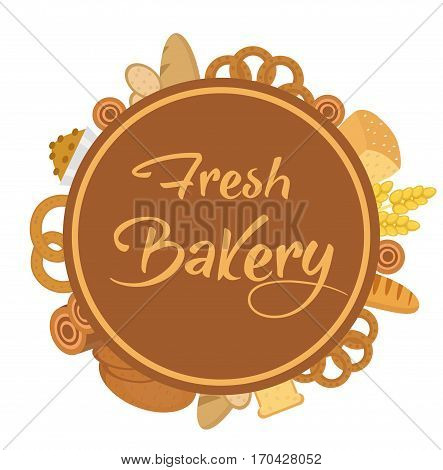 Bakery products frame with bread, loaf, buns. Vector illustration