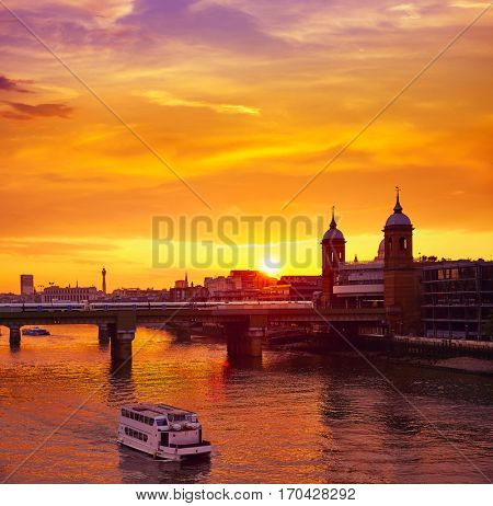 London sunset at Thames with St Paul Pauls Cathedral of England