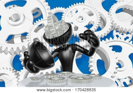 The Original 3D Character Illustration Gear Brain