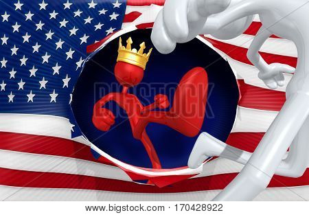 The King Of America 3D Illustration