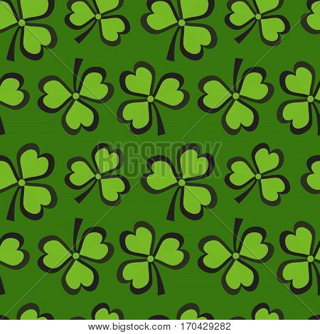 St. Patricks Day seamless pattern with clover. Clover background, texture, paper. Vector illustration