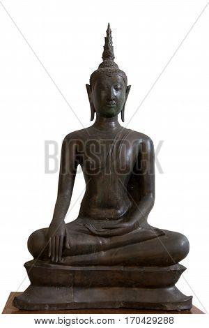 14th-15th Century A.D. an ancient buddha subduing mara U-Thong style Ayutthaya Thailand.