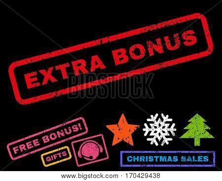 Extra Bonus text rubber seal stamp watermark with additional bonus christmas symbols. Tag inside rectangular banner with grunge design and dust texture.
