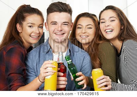 Group Of Teenagers Drinking Alcohol At Party