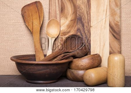 Kitchen cooking utensils. Wooden tool for kitchen