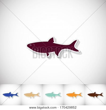 Fish dace. Flat sticker with shadow on white background. Vector illustration
